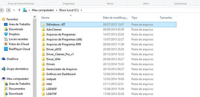 Pasta de Instalação Windows 10