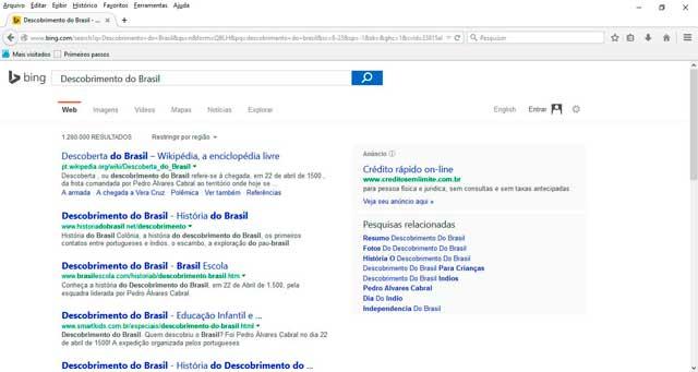 Pesquisa relacionada Bing