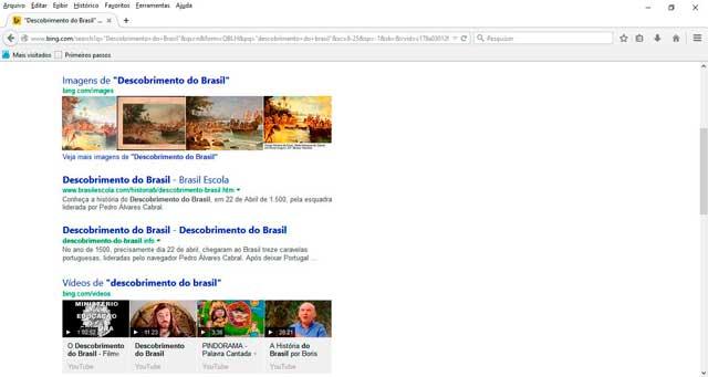 Bing: exibição de imagens e vídeos relacionadas a pesquisa
