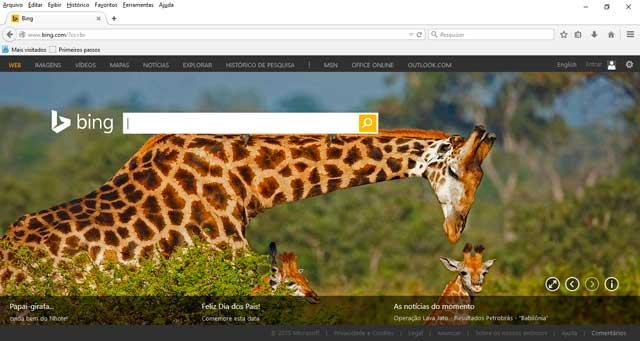 Tela Inicial Bing