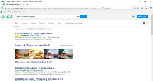 Google:utilizando aspas na pesquisa