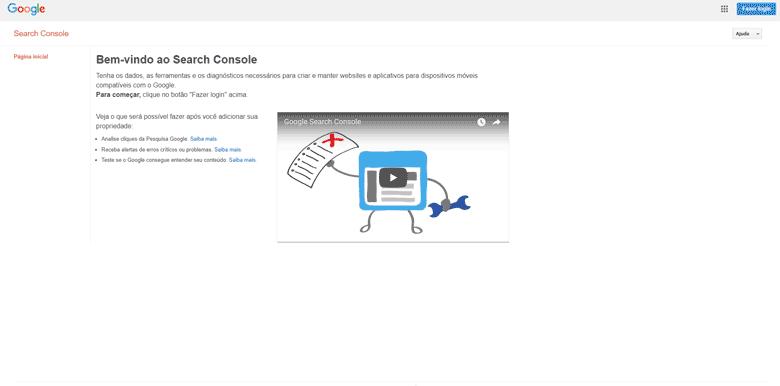 Como anunciar no Google Gratuitamente – Tela Inicial – Tela de Login – Google Webmasters