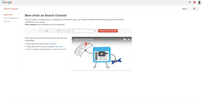 Como anunciar no Google Gratuitamente – Tela Inicial – Adicionando um propriedade – Google Search Console – Adicionando a propriedade do seu site