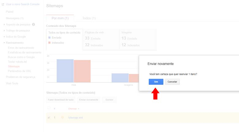 Google Search Console: Confirmando o envio do sitemap