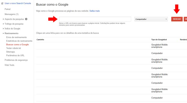 Google Search Console: Enviando uma nova url