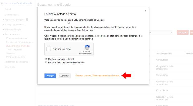 Google Search Console: Erro ao enviar uma nova url