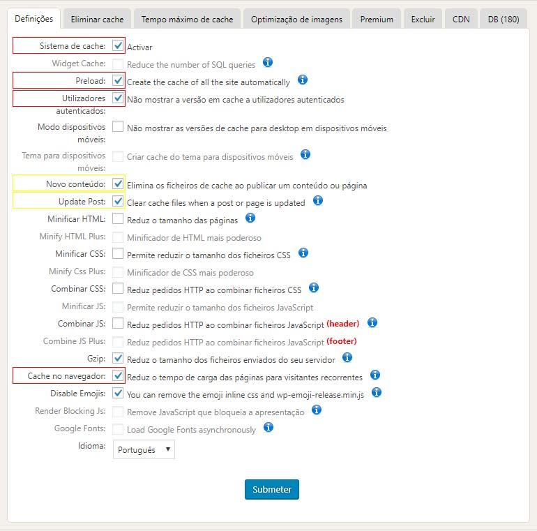 Habilite o cache do navegador e do servidor