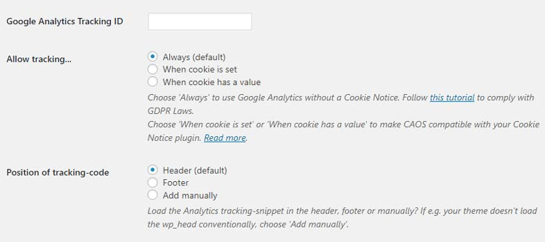 CAOS - Complete Analytics Otimization Suite for Google Analytics - Configurações