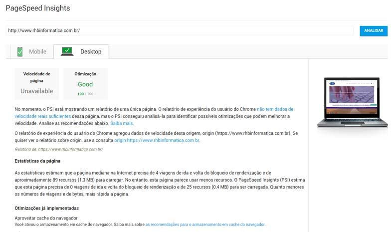 PageSpeed Insights - Pontuação Máxima - 100/100