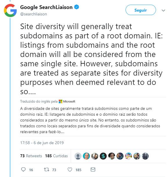 Restrição de Domínios nos Resultados de Pesquisas Google