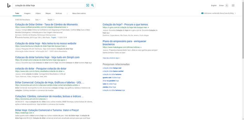 """Bing - termo de pesquisa """"cotação do dólar"""""""