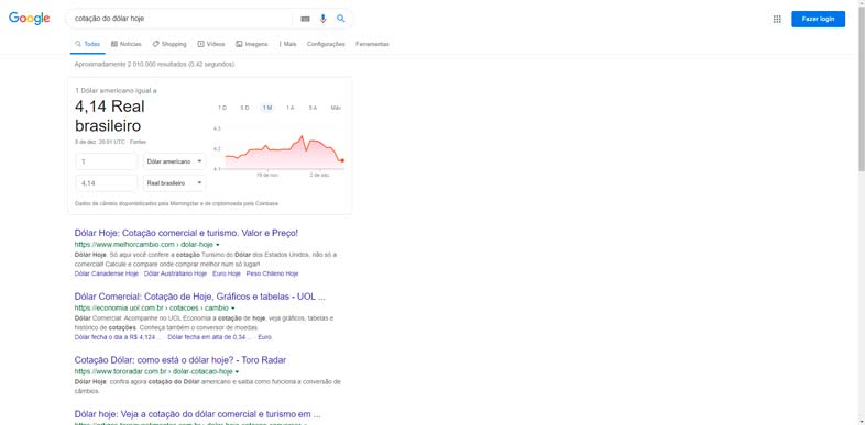 """Google - termo de pesquisa """"cotação do dólar"""""""