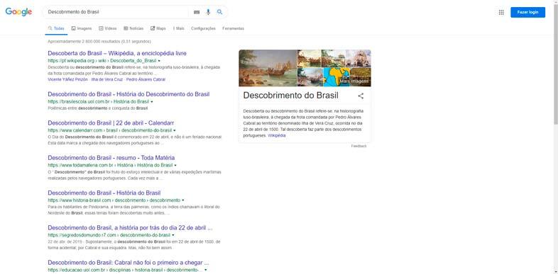 Google Pesquisa - Descobrimento do Brasil